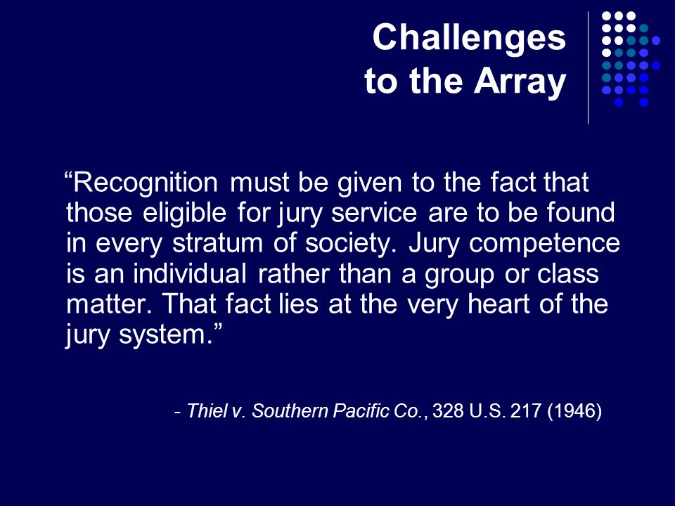 Challenges to the Array Recognition must be given to the fact that those eligible for jury service are to be found in every stratum of society.