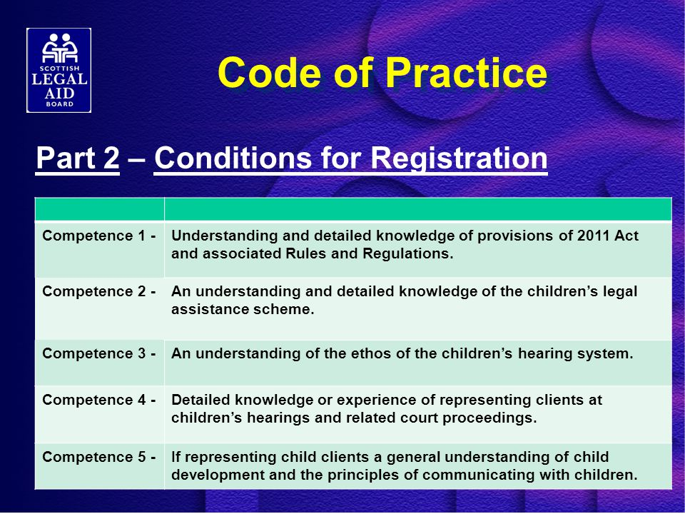 Code of Practice Part 2 – Conditions for Registration Competence 1 -Understanding and detailed knowledge of provisions of 2011 Act and associated Rules and Regulations.