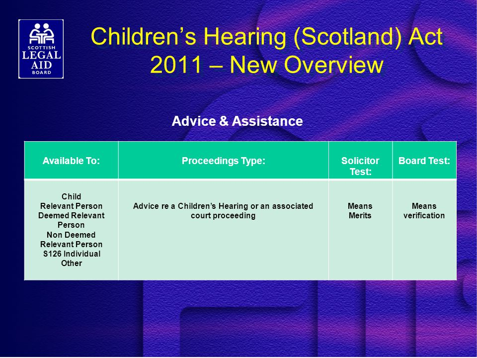 Children's Hearing (Scotland) Act 2011 – New Overview Advice & Assistance Available To:Proceedings Type:Solicitor Test: Board Test: Child Relevant Person Deemed Relevant Person Non Deemed Relevant Person S126 Individual Other Advice re a Children's Hearing or an associated court proceeding Means Merits Means verification
