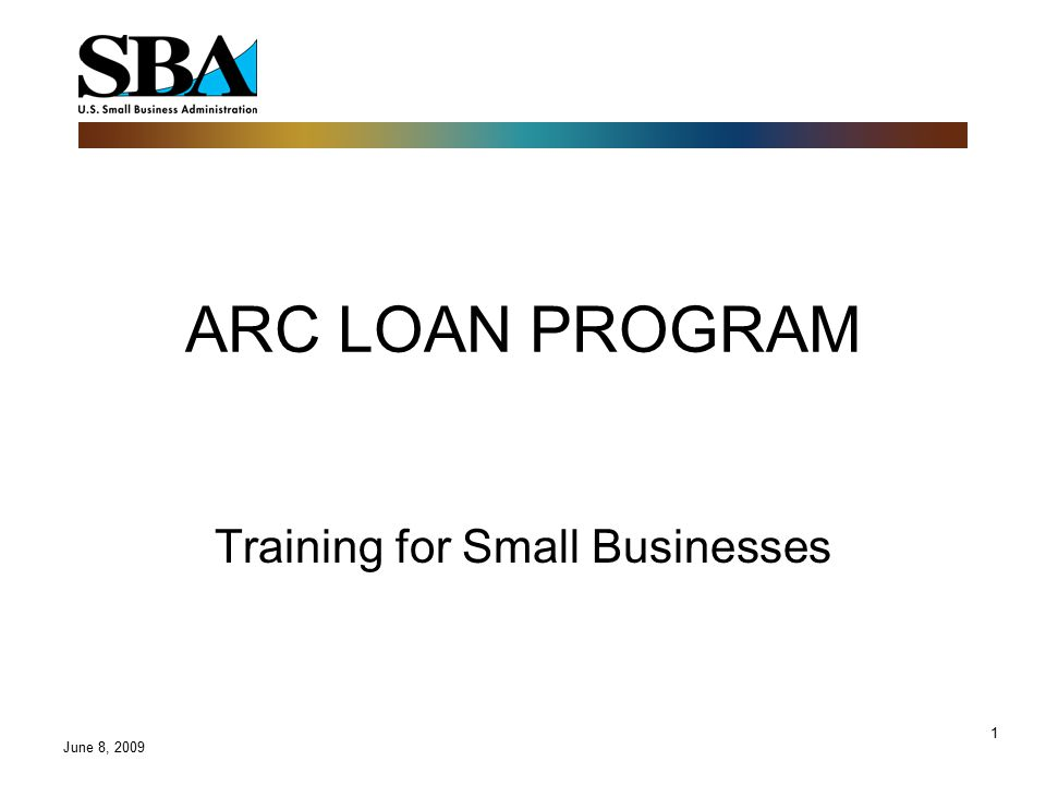 1 ARC LOAN PROGRAM Training for Small Businesses June 8, 2009