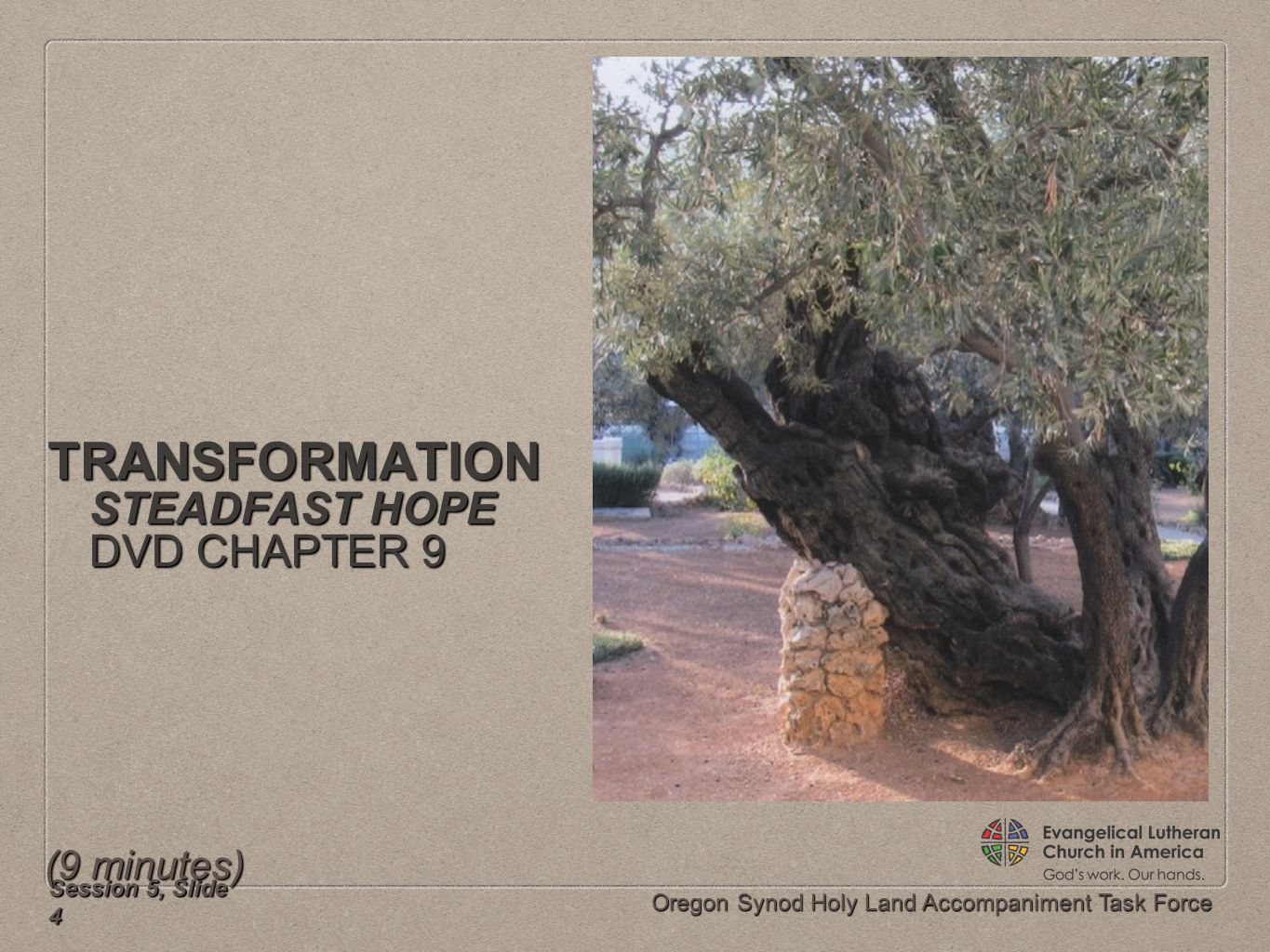 Oregon Synod Holy Land Accompaniment Task Force TRANSFORMATION STEADFAST HOPE DVD CHAPTER 9 Session 5, Slide 4 (9 minutes)