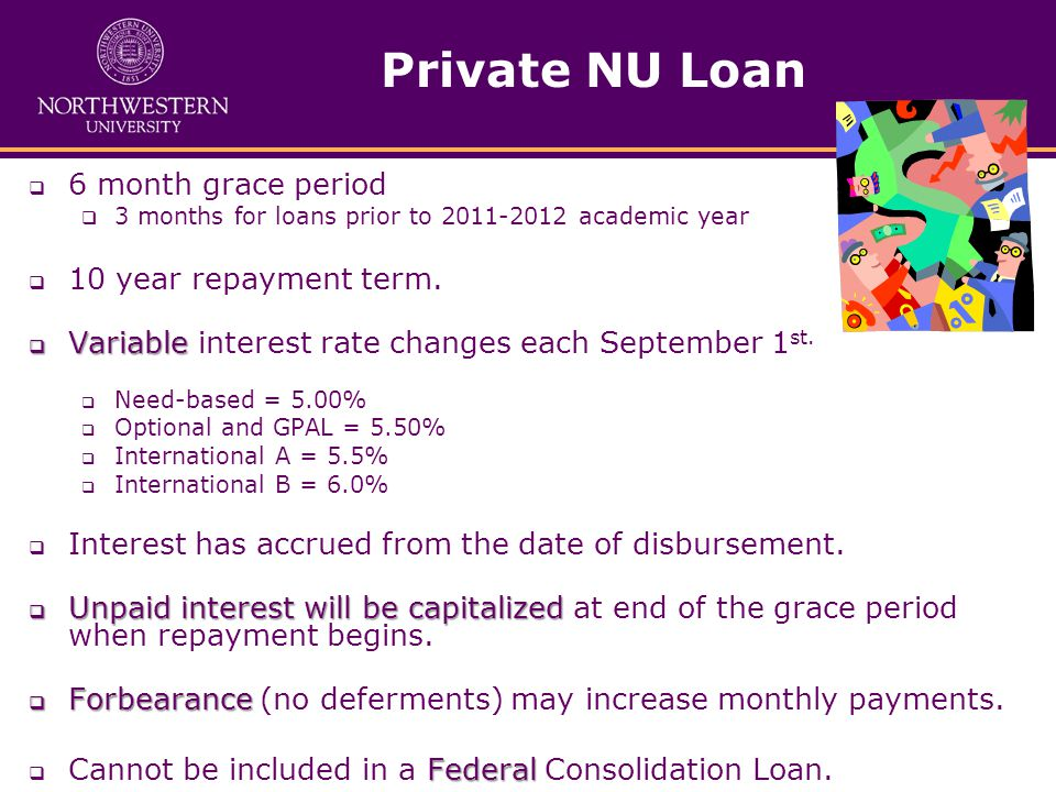 Private NU Loan  6 month grace period  3 months for loans prior to 2011-2012 academic year  10 year repayment term.