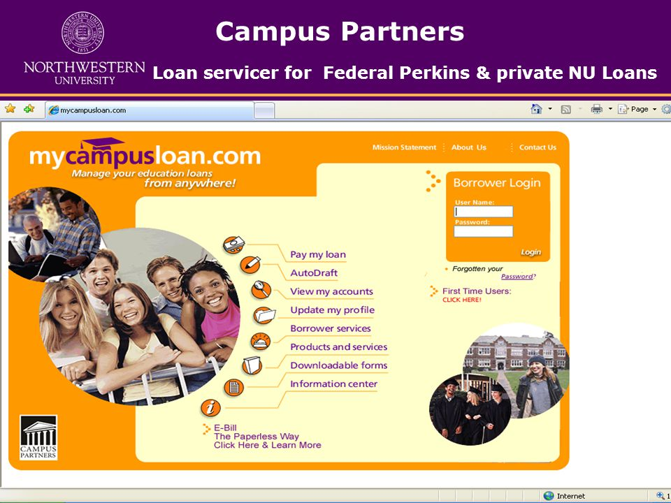 Campus Partners Loan servicer for Federal Perkins & private NU Loans