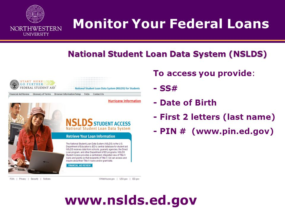 Monitor Your Federal Loans National Student Loan Data System (NSLDS) To access you provide: - SS# - Date of Birth - First 2 letters (last name) - PIN # (www.pin.ed.gov) www.nslds.ed.gov