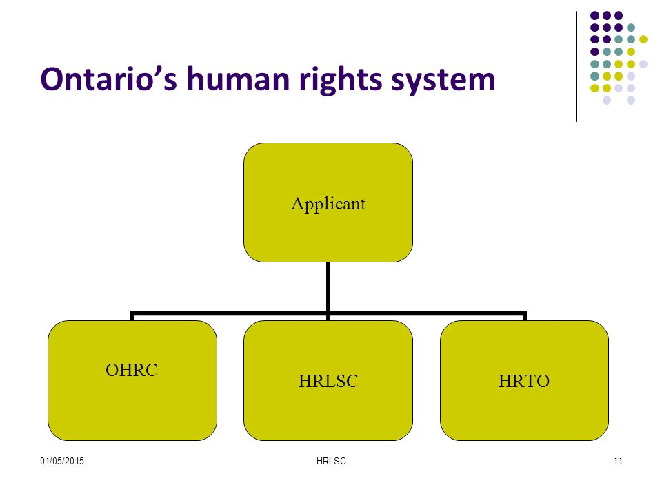 01/05/2015HRLSC11 Ontario's human rights system Applicant OHRC HRLSCHRTO