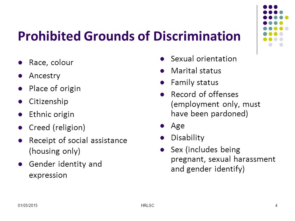 01/05/2015HRLSC4 Prohibited Grounds of Discrimination Race, colour Ancestry Place of origin Citizenship Ethnic origin Creed (religion) Receipt of soci