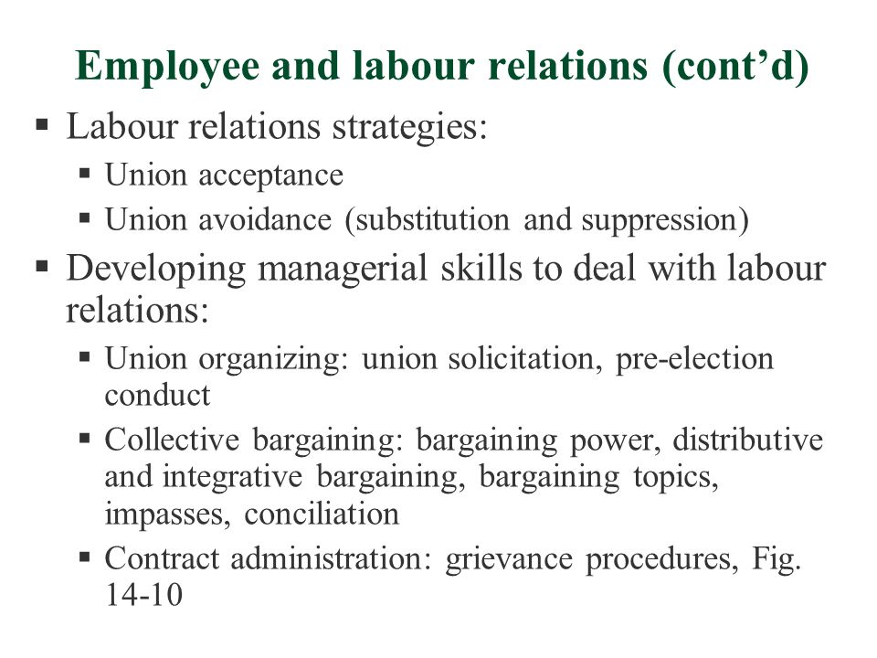 Employee and labour relations (cont'd)  Labour relations strategies:  Union acceptance  Union avoidance (substitution and suppression)  Developing