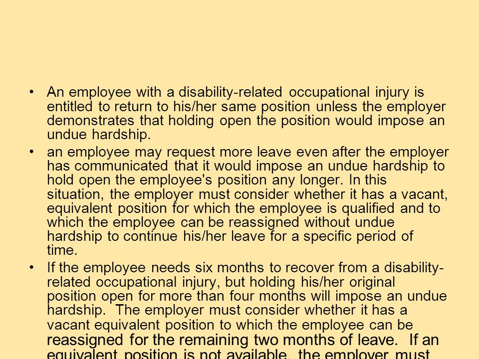 QUESTION What are the Reinstatement Rights of an Employee with a Disability-related Occupational Injury