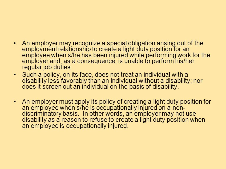 QUESTION What special duties are created for the employer of an injured worker who has an ADA qualifying disability