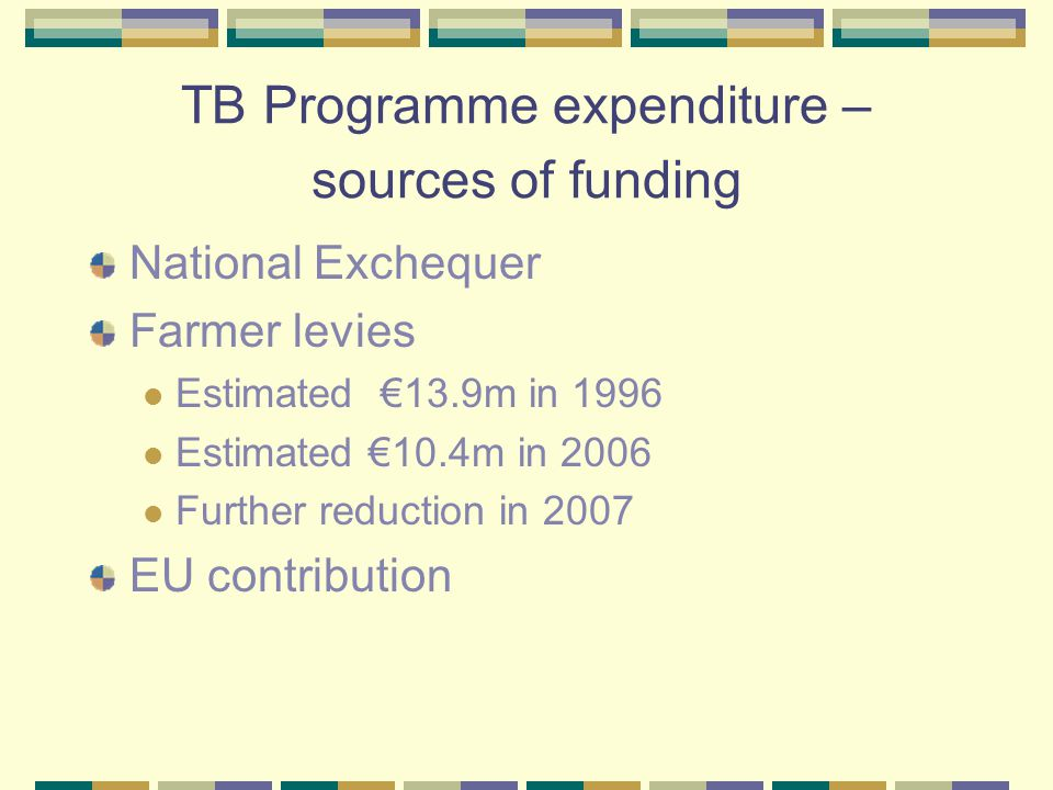 TB Programme – main expenditure items Vet fees for herd testing Reactor collection service Supplies – purchase of tuberculin, kits Wildlife programme Research Compensation DAFF administrative costs
