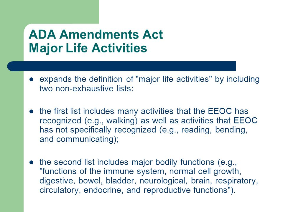 ADA Amendments Act Major Life Activities expands the definition of