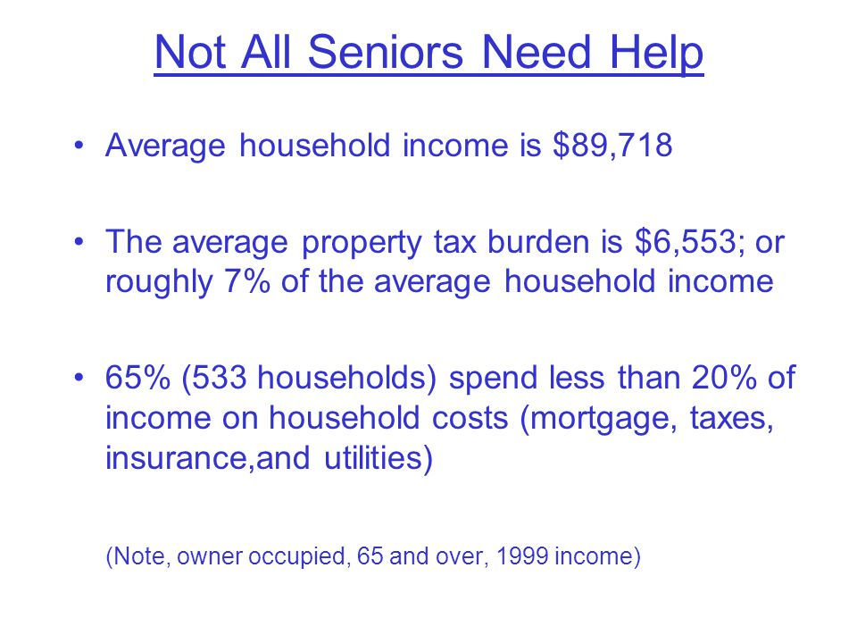 Not All Seniors Need Help Average household income is $89,718 The average property tax burden is $6,553; or roughly 7% of the average household income 65% (533 households) spend less than 20% of income on household costs (mortgage, taxes, insurance,and utilities) (Note, owner occupied, 65 and over, 1999 income)