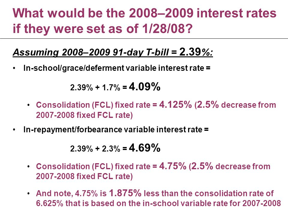 What would be the 2008–2009 interest rates if they were set as of 1/28/08.