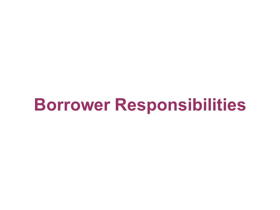 Borrower Responsibilities