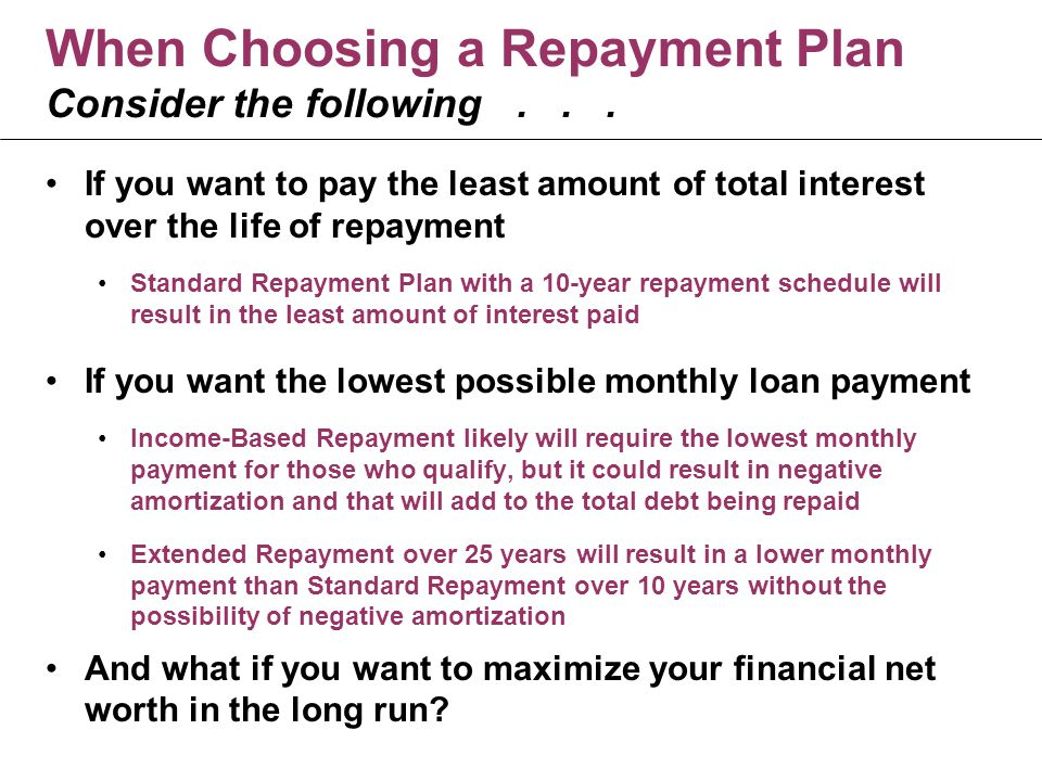 When Choosing a Repayment Plan Consider the following...