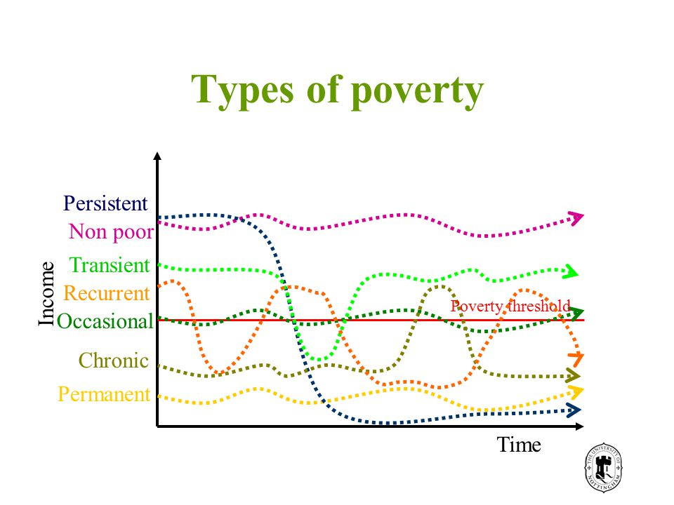 Types of poverty Poverty threshold Non poor Permanent Transient Persistent Chronic Recurrent Time Income Occasional