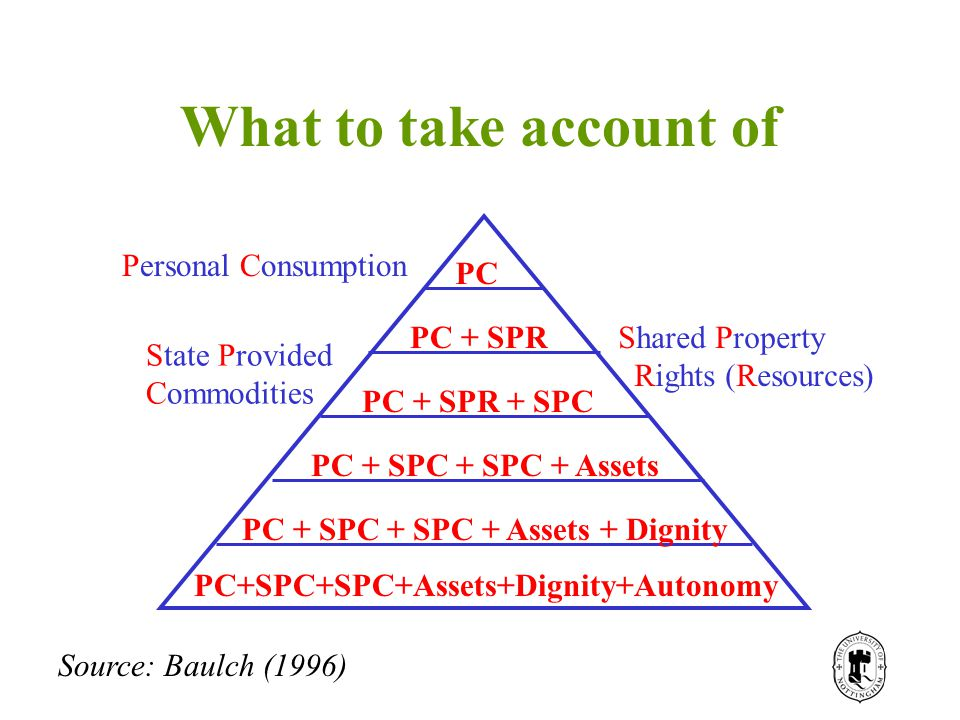 What to take account of PC PC + SPR PC + SPR + SPC PC + SPC + SPC + Assets PC + SPC + SPC + Assets + Dignity PC+SPC+SPC+Assets+Dignity+Autonomy Personal Consumption Shared Property Rights (Resources) State Provided Commodities Source: Baulch (1996)