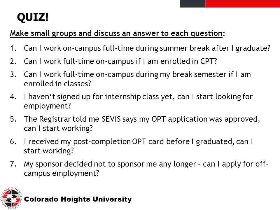 Colorado Heights University QUIZ.