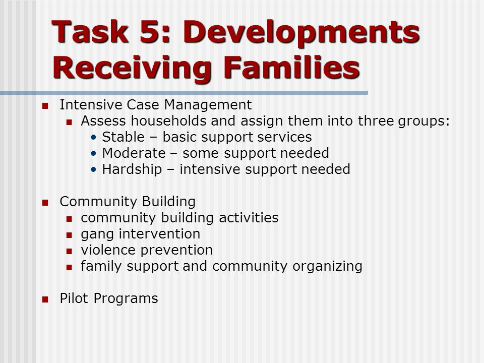 Task 5: Developments Receiving Families Intensive Case Management Assess households and assign them into three groups: Stable – basic support services