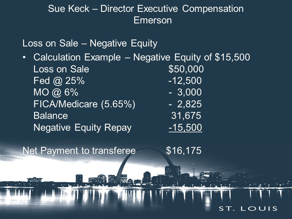 Sue Keck – Director Executive Compensation Emerson Loss on Sale – Negative Equity Calculation Example – Negative Equity of $15,500 Loss on Sale$50,000 Fed @ 25%-12,500 MO @ 6% - 3,000 FICA/Medicare (5.65%) - 2,825 Balance 31,675 Negative Equity Repay -15,500 Net Payment to transferee $16,175