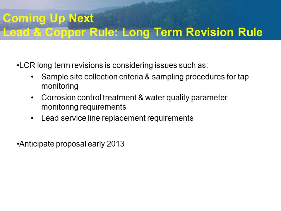 Coming Up Next Lead & Copper Rule: Long Term Revision Rule LCR long term revisions is considering issues such as: Sample site collection criteria & sa