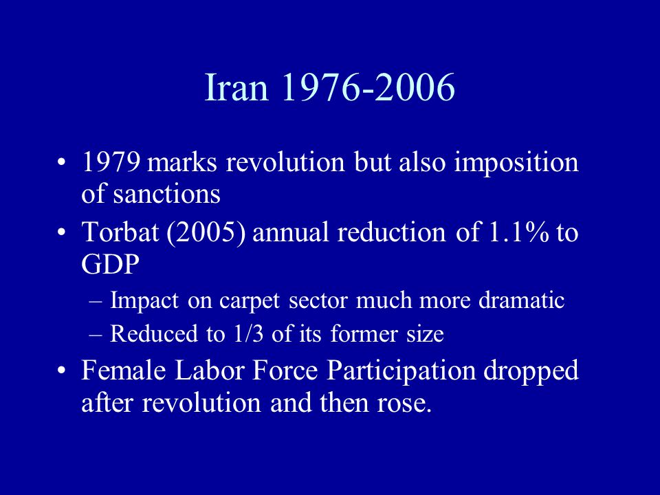 Iran 1976-2006 1979 marks revolution but also imposition of sanctions Torbat (2005) annual reduction of 1.1% to GDP –Impact on carpet sector much more dramatic –Reduced to 1/3 of its former size Female Labor Force Participation dropped after revolution and then rose.