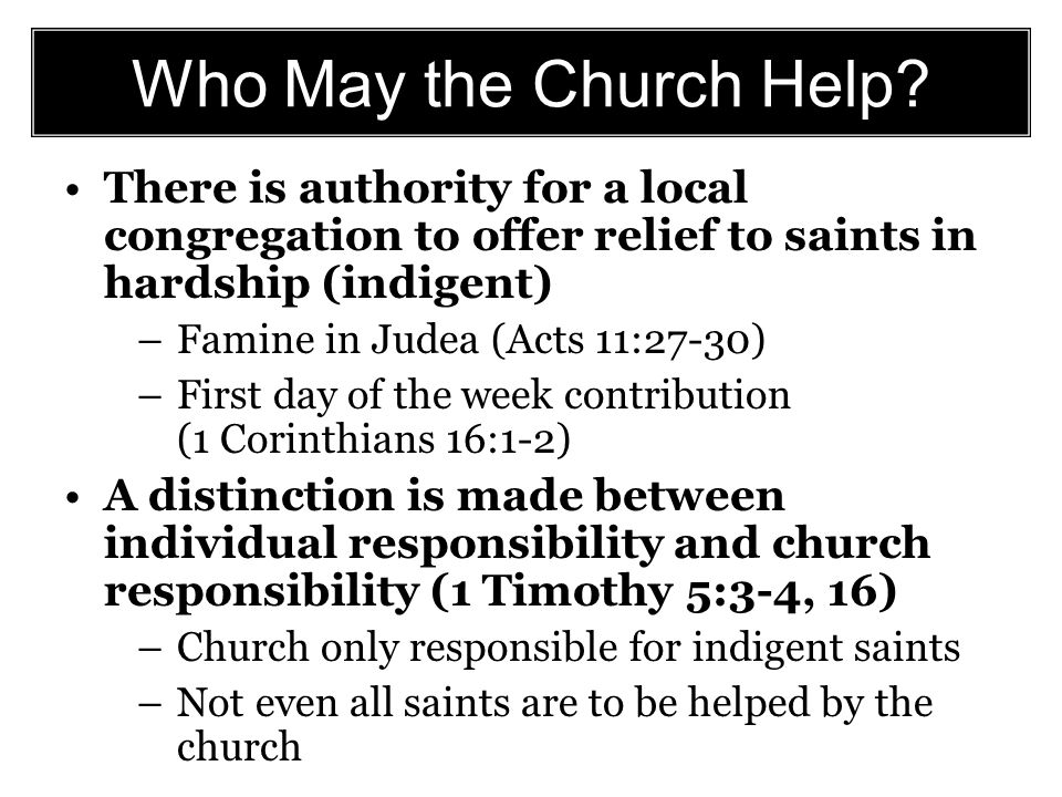 Who May the Church Help.