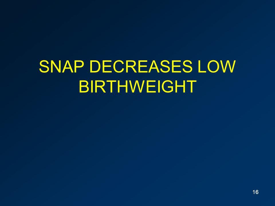 SNAP DECREASES LOW BIRTHWEIGHT 16
