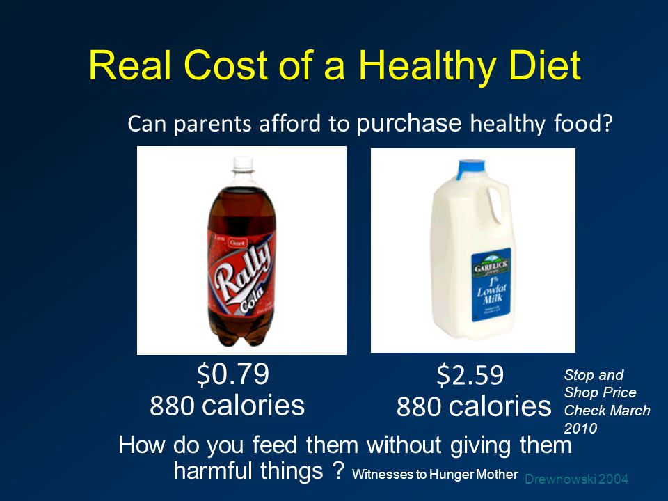 Real Cost of a Healthy Diet Can parents afford to purchase healthy food? $ 0.79 $2.59 880 calories How do you feed them without giving them harmful th