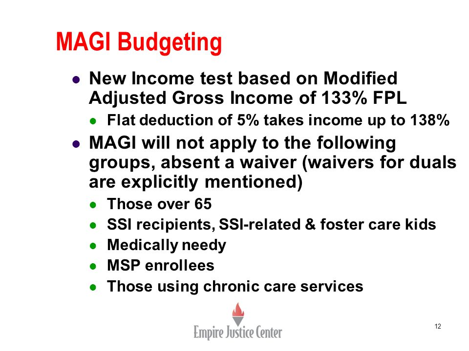 MAGI Budgeting 12 New Income test based on Modified Adjusted Gross Income of 133% FPL Flat deduction of 5% takes income up to 138% MAGI will not apply to the following groups, absent a waiver (waivers for duals are explicitly mentioned) Those over 65 SSI recipients, SSI-related & foster care kids Medically needy MSP enrollees Those using chronic care services
