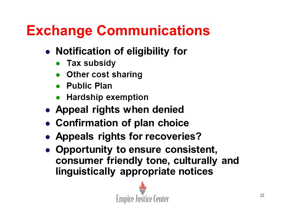 22 Exchange Communications Notification of eligibility for Tax subsidy Other cost sharing Public Plan Hardship exemption Appeal rights when denied Con