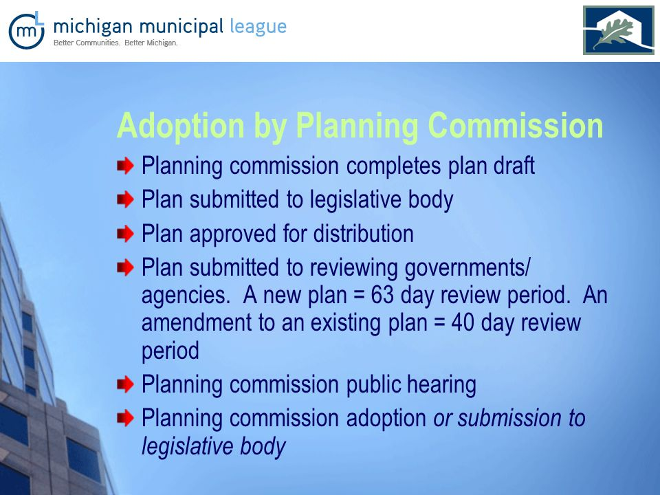 Adoption by Planning Commission Planning commission completes plan draft Plan submitted to legislative body Plan approved for distribution Plan submitted to reviewing governments/ agencies.