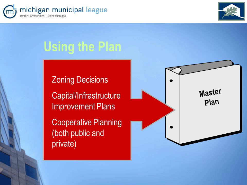 Master Plan Zoning Decisions Capital/Infrastructure Improvement Plans Cooperative Planning (both public and private) Using the Plan