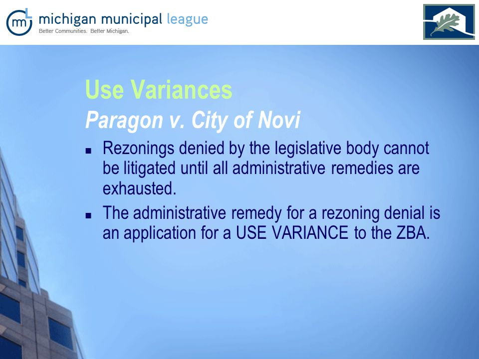 Use Variances Paragon v.