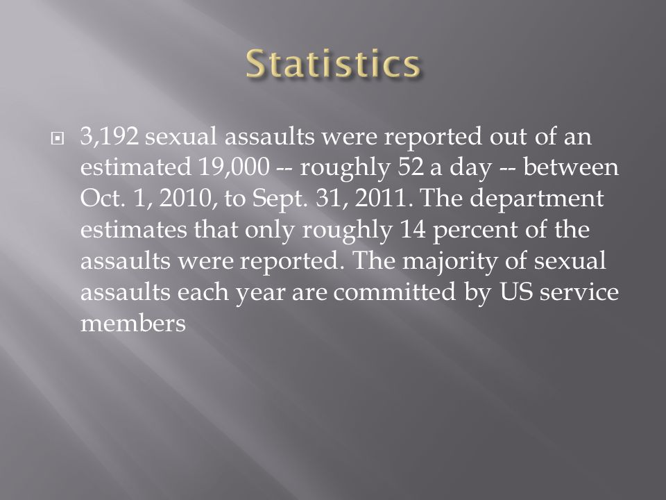  3,192 sexual assaults were reported out of an estimated 19,000 -- roughly 52 a day -- between Oct.