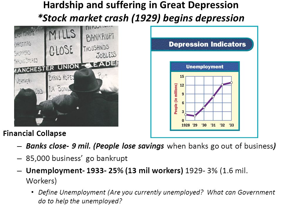 Hardship and suffering in Great Depression *Stock market crash (1929) begins depression Financial Collapse – Banks close- 9 mil.