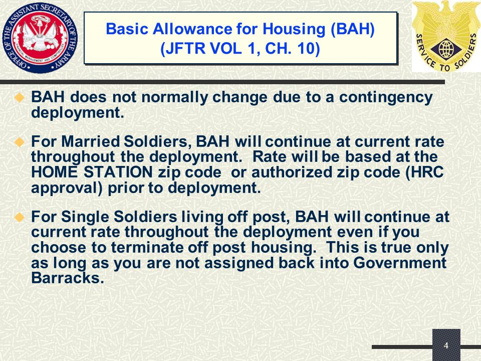 Basic Allowance for Housing (BAH) (JFTR VOL 1, CH.