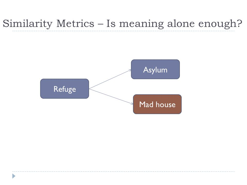 Similarity Metrics – Is meaning alone enough? Refuge Mad house Asylum Mad house