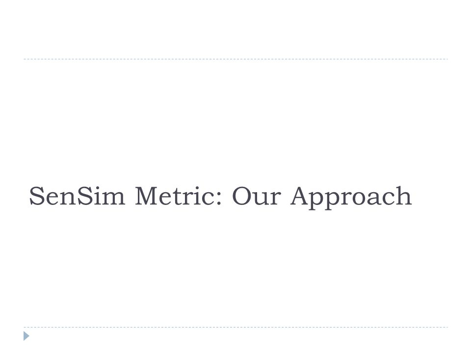SenSim Metric: Our Approach