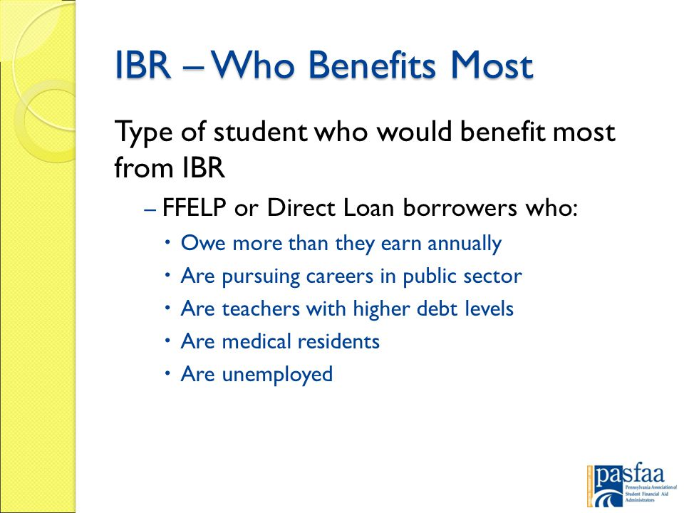 IBR – Who Benefits Most Type of student who would benefit most from IBR – FFELP or Direct Loan borrowers who:  Owe more than they earn annually  Are pursuing careers in public sector  Are teachers with higher debt levels  Are medical residents  Are unemployed