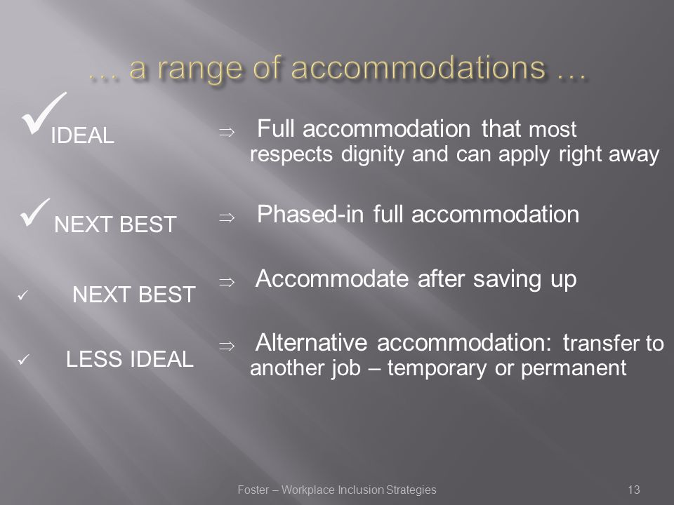 IDEAL NEXT BEST LESS IDEAL  Full accommodation that most respects dignity and can apply right away  Phased-in full accommodation  Accommodate after saving up  Alternative accommodation: t ransfer to another job – temporary or permanent 13Foster – Workplace Inclusion Strategies