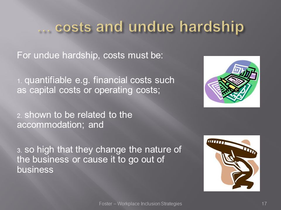For undue hardship, costs must be: 1. quantifiable e.g.
