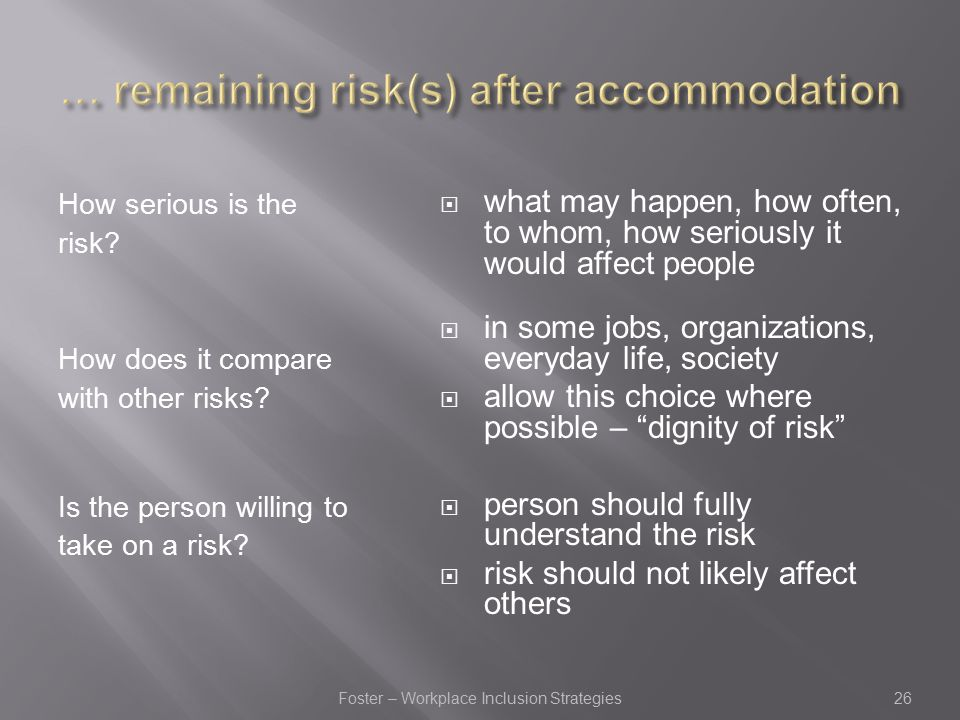 How serious is the risk. How does it compare with other risks.