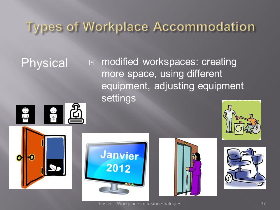 Physical  modified workspaces: creating more space, using different equipment, adjusting equipment settings MARCH 6, 2012 Janvier 2012 37Foster – Workplace Inclusion Strategies