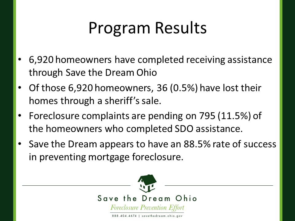 Program Results 6,920 homeowners have completed receiving assistance through Save the Dream Ohio Of those 6,920 homeowners, 36 (0.5%) have lost their homes through a sheriff's sale.