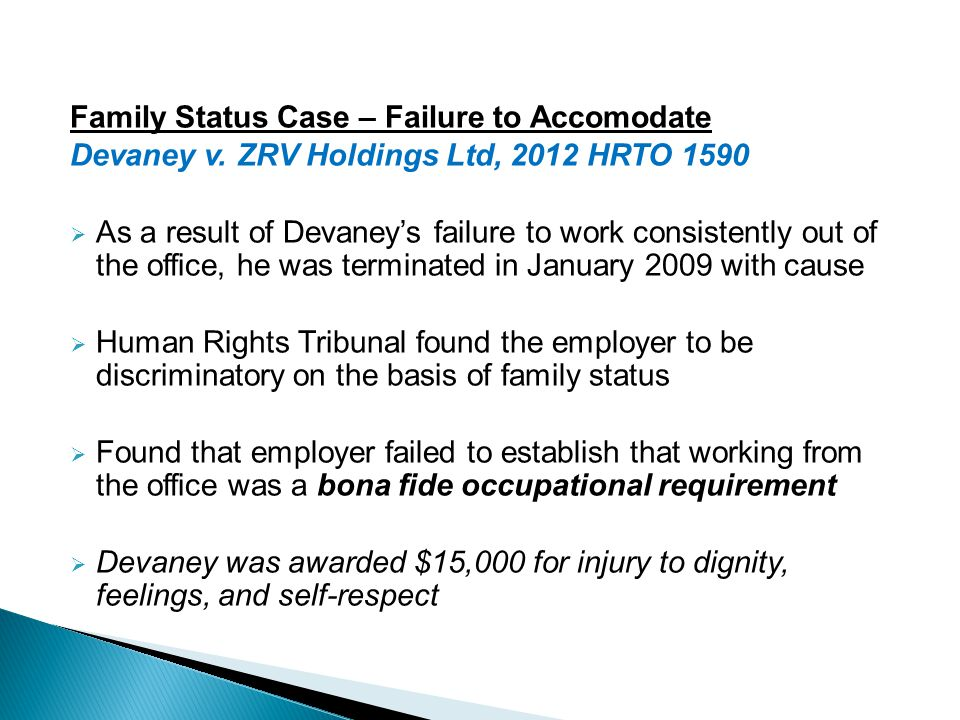 Family Status Case – Failure to Accomodate Devaney v.