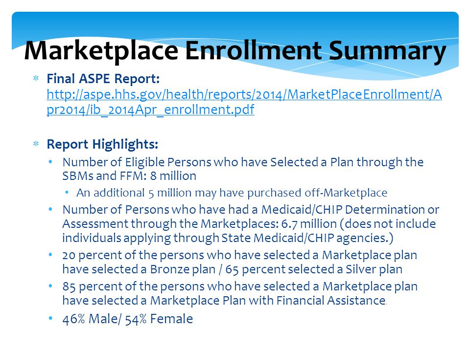  Final ASPE Report: http://aspe.hhs.gov/health/reports/2014/MarketPlaceEnrollment/A pr2014/ib_2014Apr_enrollment.pdf http://aspe.hhs.gov/health/reports/2014/MarketPlaceEnrollment/A pr2014/ib_2014Apr_enrollment.pdf  Report Highlights: Number of Eligible Persons who have Selected a Plan through the SBMs and FFM: 8 million An additional 5 million may have purchased off-Marketplace Number of Persons who have had a Medicaid/CHIP Determination or Assessment through the Marketplaces: 6.7 million (does not include individuals applying through State Medicaid/CHIP agencies.) 20 percent of the persons who have selected a Marketplace plan have selected a Bronze plan / 65 percent selected a Silver plan 85 percent of the persons who have selected a Marketplace plan have selected a Marketplace Plan with Financial Assistance.