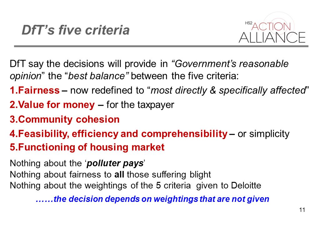 """11 DfT's five criteria DfT say the decisions will provide in """"Government's reasonable opinion"""" the """"best balance"""" between the five criteria: 1.Fairnes"""