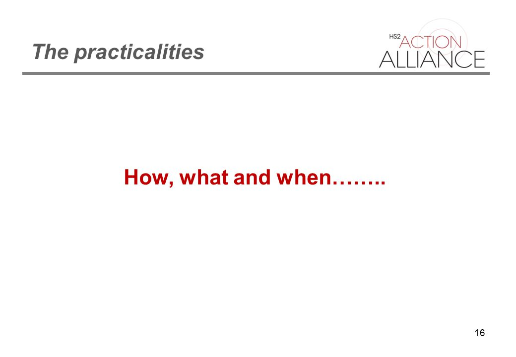 16 The practicalities How, what and when……..