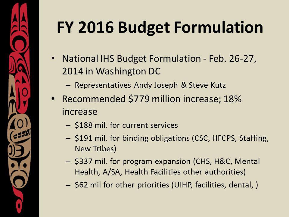 FY 2016 Budget Formulation National IHS Budget Formulation - Feb.